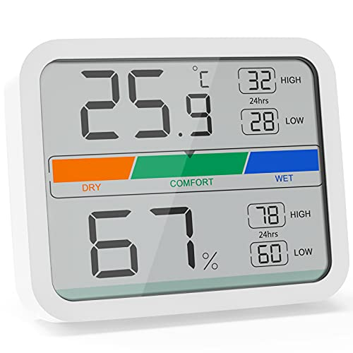 LIORQUE Room Thermometer Digital Indoor Hygrometer Thermometer, Mini Temperature Monitor and Humidity Meter for Home Office Air Comfort, Max Min Records