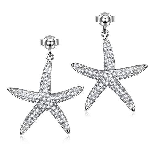 AVATAR orecchini d'argento per donna orecchini cubici di zirconia per donna orecchini stelle marine per ragazza orecchini di zirconia orecchini orecchino orecchini bianchi per donna gioielli per lei