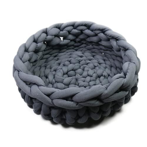 Wandskllss Perrera tejida a mano para gatos y arena lavable a máquina, paño de algodón grueso grueso y puro algodón lavable, nido de mascotas artesanías en forma de donut (A/XL)