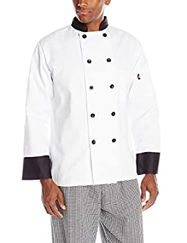 Dickies Men s 10 Chef Coat with Black Buttons and Trim White XXX-Large