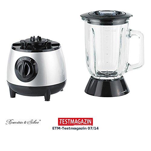 Rosenstein & Söhne Smoothie Mixer: Glas-Standmixer, Edelstahl-Klingen, 2 Modi und Pulse, 400 Watt, 1,3 l (Mixer für Obst und Gemüse)