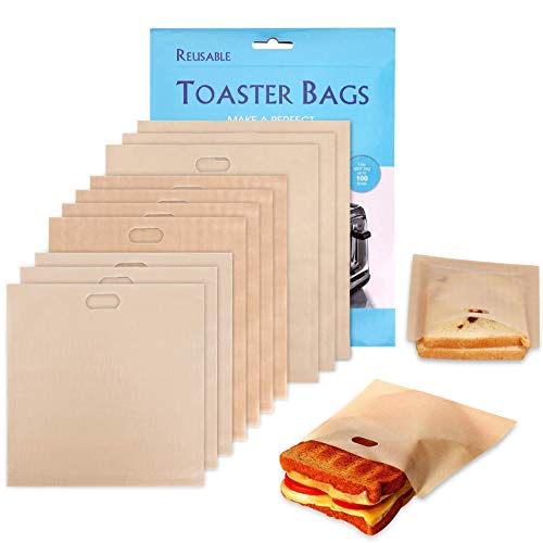 Samshow Non-Stick Heat Resistant Toaster Bags Gluten Freed Reusable Oven Pastry Bags for Grilled Cheese Sandwiches Picnic (Wood color)