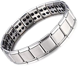 Men's Jewelry Elastic adjustable length Silver Color Stainless Steel Healthy Care Ion Bio Elements Germanium Bracelets for...