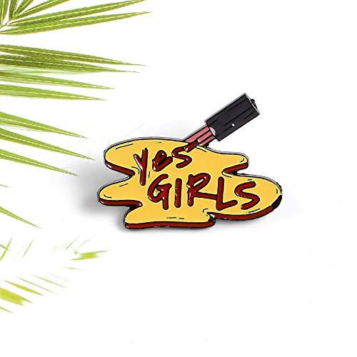 QISKAII Cartoon Pinsel Farbe Squeeze Kolloid Emaille Pin Haarbürste schreiben JA MÄDCHEN Denim Rucksack Abzeichen Logo Schmuck Brosche Geschenk