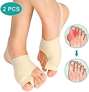 Gel Bunion Corrector Toe Straightener 1 Pair Set, Big Toe Splint Protectors, Support Sleeve with Silicone Separators and Pad for Hallux Valgus Pain Relief Day and Night Time