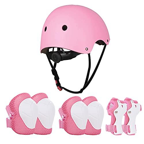 JIM'S STORE Schoner Set Knieschoner Inliner Kinder mit Verstellbaren Helm Protektoren Skateboard Helm Set Fahrrad Schützer Sport Schutzausrüstung (Rosa)