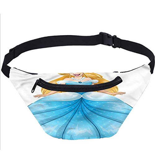 Princess Fanny Pack Bag,Blue Dress Pearl Necklace Running Travel Sports Bags
