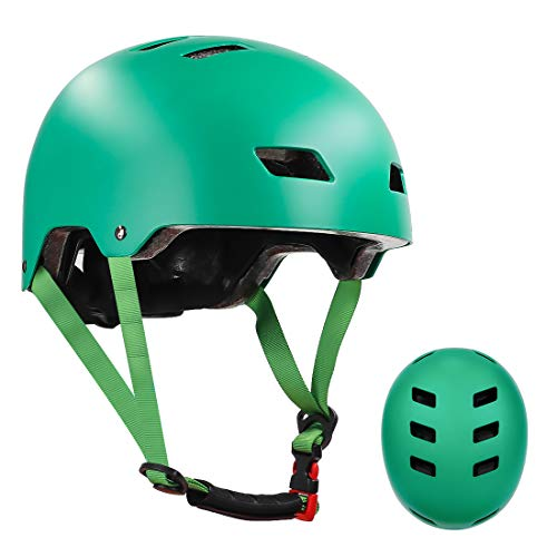 LANOVAGEAR Skateboard Helmet ASTM & CPSC Certified - 12 Vents Ventilation System – Adjustable for Kids, Youth & Adults (Dark Green, M)