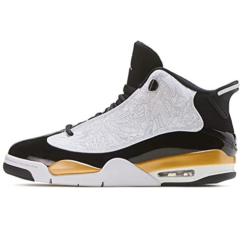 Nike Herren AIR Jordan Dub Zero Basketballschuh, Black White Metallic Gold, 50.5 EU