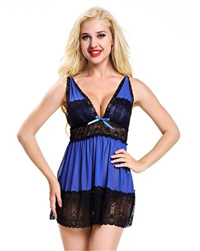 Babydoll De Lingerie Sexy des Femmes, Dentelle Teddy V Profond Halter Dress Set Vêtements De Nuit, Plus La Taille M-4XL Nightwear,2,XL