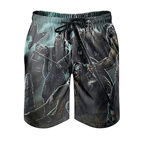 Dessionop Pantalones cortos de playa para hombre, estilo vikingo, guerrero, ejes, cuervo impreso, pantalones de entrenamiento con forro de bolsillo vintage, Hombre, Blanco, extra-large
