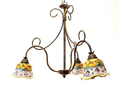 Ilab Lámpara de techo de hierro forjado 3 luces con cerámica coll. Giulia, monta 3 bombillas E14 casquillo pequeño de 40 W,iamotes:62cm,altura mínima:70cm,altura máxima:120cm (50cm cadena ajustable)