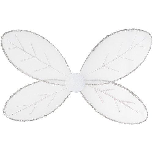 TecTake dressforfun Schmetterlingsflügell in Weiß mit Glitzerumrandung und Glitzerdetails auf den Flügeln | inkl. Gummibändern zur Befestigung am Rücken | 62,5 x 40,5 cm