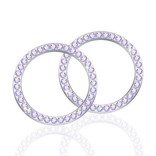 LivTee 2 PCS Crystal Rhinestone Car Engine Start Stop Decoration Ring, Bling car Accessories, Push to Start Button, Key Ignition & Knob Bling Ring, Colorful