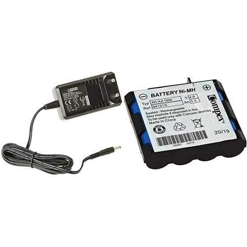 Compex - Cargador rápido de baterías para máquinas de musculación Color Negro + 941210- Batería De Recambio, Azul