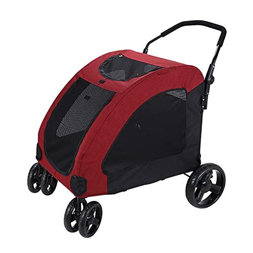 LJFLI Cochecito para Perro Grande Mediano Plegable Cuatro Ruedas CojíN Desmontable y Lavable Bolsa de Almacenamiento Doble Viajes de Mascotas Al Aire Libre 55 Kg