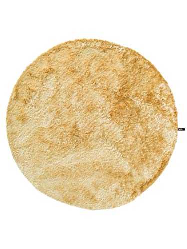 Benuta Teppiche: Shaggy Langflor Hochflor Teppich Whisper Gelb ø 200 cm rund - schadstofffrei - 100% Polyester - Uni - Handgetufted - Wohnzimmer