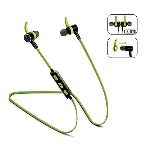 Auriculares Bluetooth inálambrico Magnéticos in ear, MeihuaTu Cascos Deportivos de reducción de ruido con micrófono y manos libres Headphone estéreo para Smartphones (Verde)