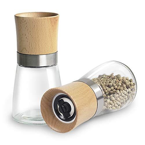 Aikzik pfeffermühle, Gewürzmühle mit Verstellbarem Keramikmahlwerk, salz und Pfeffer mühle, Auch als Moderne Salzmühle Chilimühle, aus Edelstahl, Holz und Glas