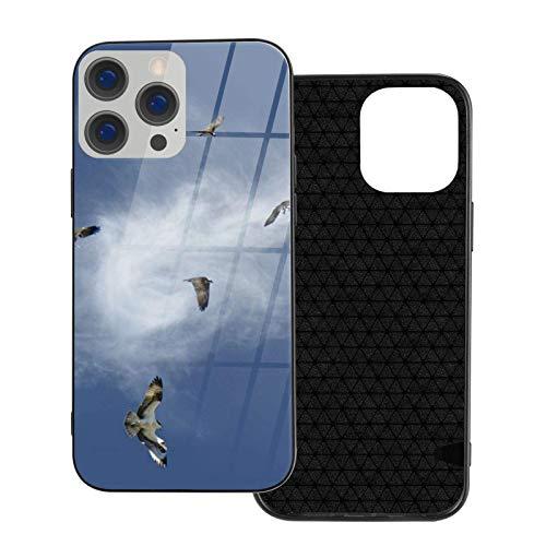 MEUYGOFLZ Compatible con iPhone 12 Pro Max, carcasa resistente de cuerpo completo, carcasa de cristal TPU suave para iPhone 12 Pro Max 6.7 pulgadas, Osprey Fishing Real Sky