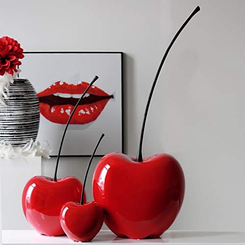 Casablanca 36407 Skulptur - Dekoobjekt - Kirsche Passion - Keramik - rot 60 x 25 cm