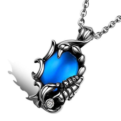 Cupimatch - Collana da uomo in acciaio INOX con ciondolo a forma di Scorpions, con pietra blu, 55 cm, colore: blu/argento