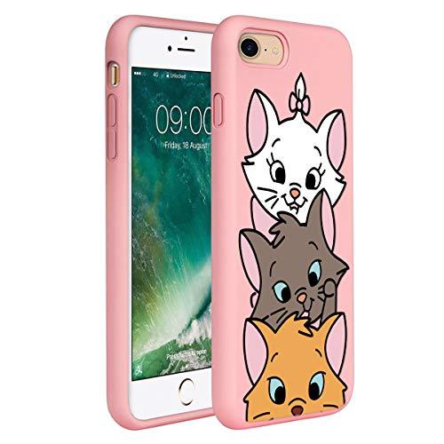 ZhuoFan Cover per iPhone 7/8, Custodia Cover Silicone Rosa con Disegni Ultra Slim TPU Morbido Antiurto 3D Cartoon Bumper Case Protettiva per iPhone 7/8/SE 2020 SE 2020, 3 Cat