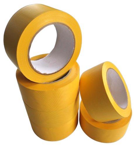 Profi PVC Klebeband quer gerillt gelb 50mmx33m 6 Rollen Weich-PVC-Klebeband Isolierband Rillenband