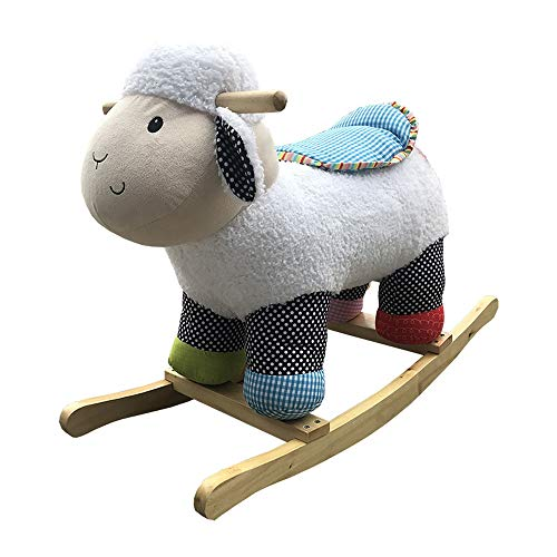 Kibten Cute Sheep Baby Rocking Horse Outdoor Indoor Wooden Infant Rocking Animal Chair Wood Toddler Rocker Kid Ride on Toy Plush Rocking Horse Toy Birthday Gift for Girl Boy Children