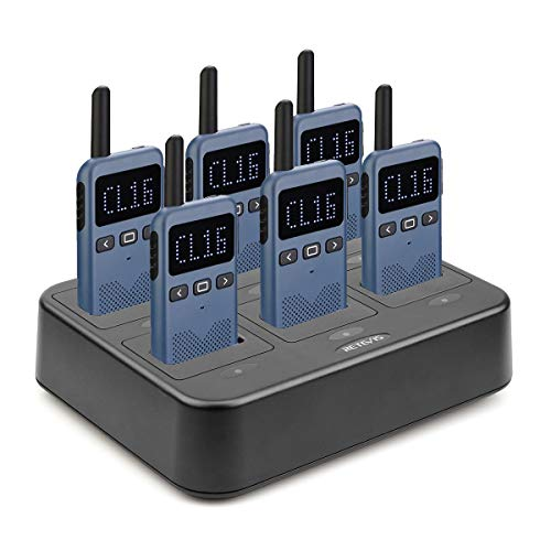 Retevis RB19 Walkie Talkies for Adults,Portable FRS Two-Way Radios Rechargeable,Ultra-Slim,Mini,1650mAh Battery(6 Pack) with 6 Way Multi Gang Charger,for Business Commercial