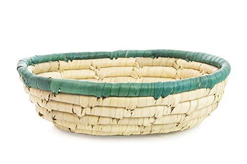 Palmblad gevlochten mand ovaal groen - Fair Trade klein groen