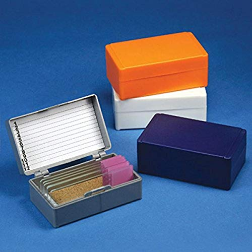 Globe Scientific 513072N ABS Plastic Slide Storage Box for 12 Slides, Cork Lined, Orange