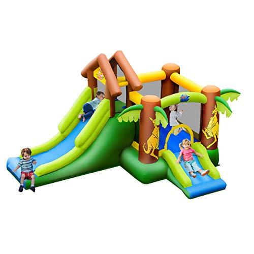 COSTWAY Castillo Hinchable con Tobogán para Infantil Parque Centro de Juego de 390x340x230cm para Jardín Exterior Hogar Sin Soplador