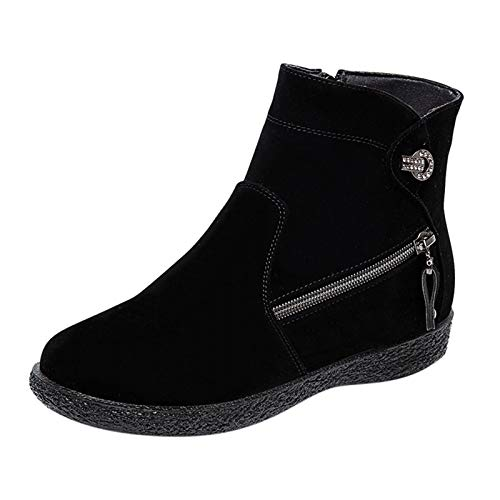 DAIFINEY Damen Winterstiefel Warm Gefüttert Kurzschaft Stiefel Ankle Boot Halbstiefel Stiefelette Bootie Schlupfstiefel Schneestiefel Winterschuhe(1-Schwarz/Black,38)