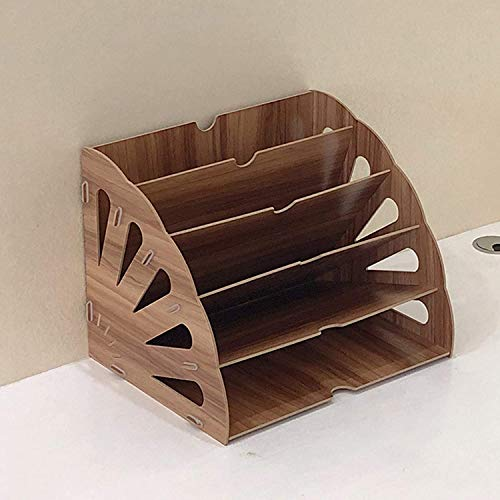 SSWD Wooden Magazine File Organiser, New Storage Compartments, Letter Tray, Paper Organiser, 5 Compartments, Magazine Rack, Papers and Documents (Brown)