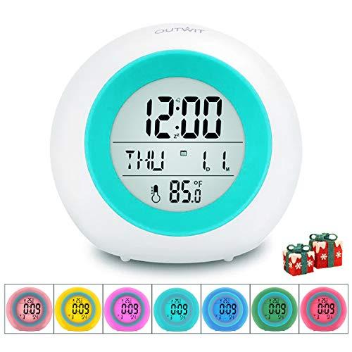 OUTWIT LED Kinderwecker, 7 Farben ändern Lichtwecker für Kinder, 8 Klingeltöne,12/24 Stunden,One-Tap-Control,batteriebetrieben mit Innentemperaturanzeige für Kinder Mädchen Jungen
