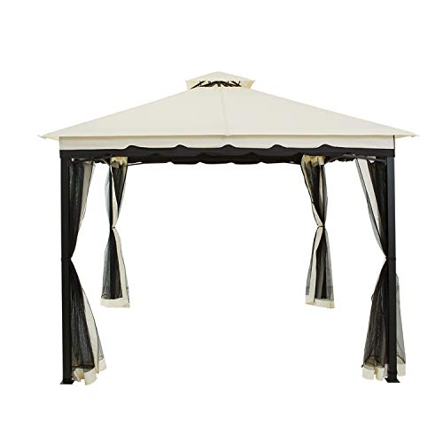 Patios Gazebo, Outdoor Patio 10' x 10' Steel Frame, Double Vented Roof Canopy with Mosquito Curtain,Waterproof,Winds Proof