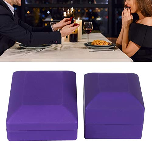 Caja de Collar, Vitrina de luz LED, Caja de Anillo, Caja Fuerte Elegante y Lujosa para Bodas de Aniversario de Compromiso(Purple)