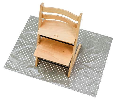 Messy Me - Alfombras anti-manchas para silla alta - Alfombrilla anti-salpicaduras para bebés, limpieza fácil - Comida para bebés, Actividades sucias, Toallita encerada danesa. La alfombra del patio protege las actividades lúdicas (Gris con estrellas)