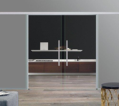 BC-1025-600-AS-DPL: Schiebetürsystem doppelflügelig ESG 2x1025x2050x8mm, zeitloses klares Glas, ohne Dekor; Schienensystem ALU SlimLine SoftStop; Griffstange rund 600