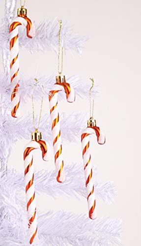 Christmas Concepts® Packung mit 6-13 cm Glitzer-Zuckerstangen-Christbaumschmuck (Kupfer & Weiß)