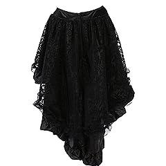 COSWE Women's Solid Color Lace Asymmetrical High Low Corset Skirt Plus Size Black (2XL) #3