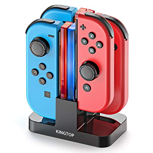 Charging Dock Stand for Nintendo Switch KINGTOP Joy-Con Controllers Charger Station with Individual LEDs Indicator and Type C Charging Cable Upgraded Version