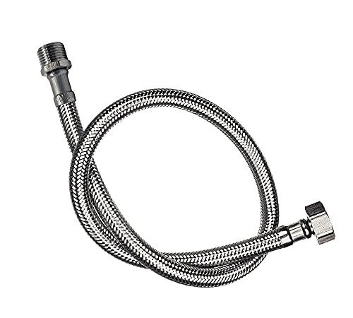 DOJA Industrial   Latiguillo de Grifo Flexible   Hembra/Macho   H 3/8' - M 10 x 100   35 cm de Longitud   Manguera para Grifo o Ducha de Acero Inoxidable   Flexo para lavabo, grifos, cocina…