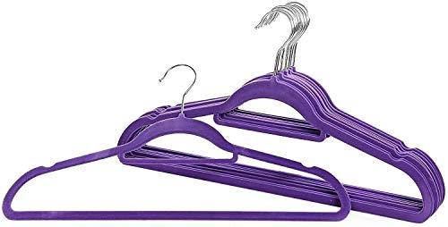 WUCHENG Perchas hogar Antideslizantes [10 Perchas] -44.5cm Ultrafino y Ahorro de Espacio Antideslizantes Flocado Perchas-púrpura Perchas Ropa (Color : Purple)