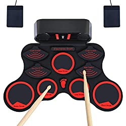 20%OFF Electronic Drum Set, JEVDES Roll Up Drum Set for Kids, Portable Beginners Electric Drums