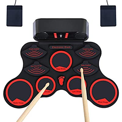 Electronic Drum Set, JEVDES Roll Up Drum Set fo...