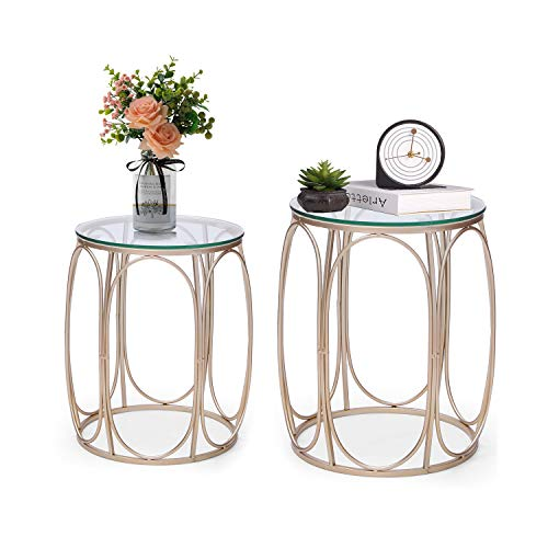 Adeco Round Nesting Accent Side Set of 2-Gold End Tables,