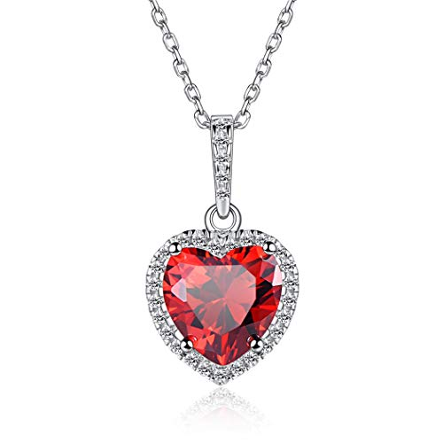 925 Sterling Silver January Heart Birthstone Pendant Necklace Simulated Garnet Shape of My Heart Mother's Day