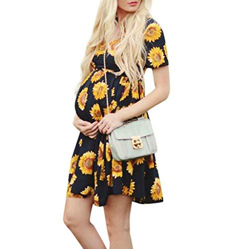 Allence Damen Umstandskleid Mutterschaft Umstandsmode Lange Maxikleid Sommerkleid Schwangerschafts Kleid Ärmellos für Fotoshooting Party